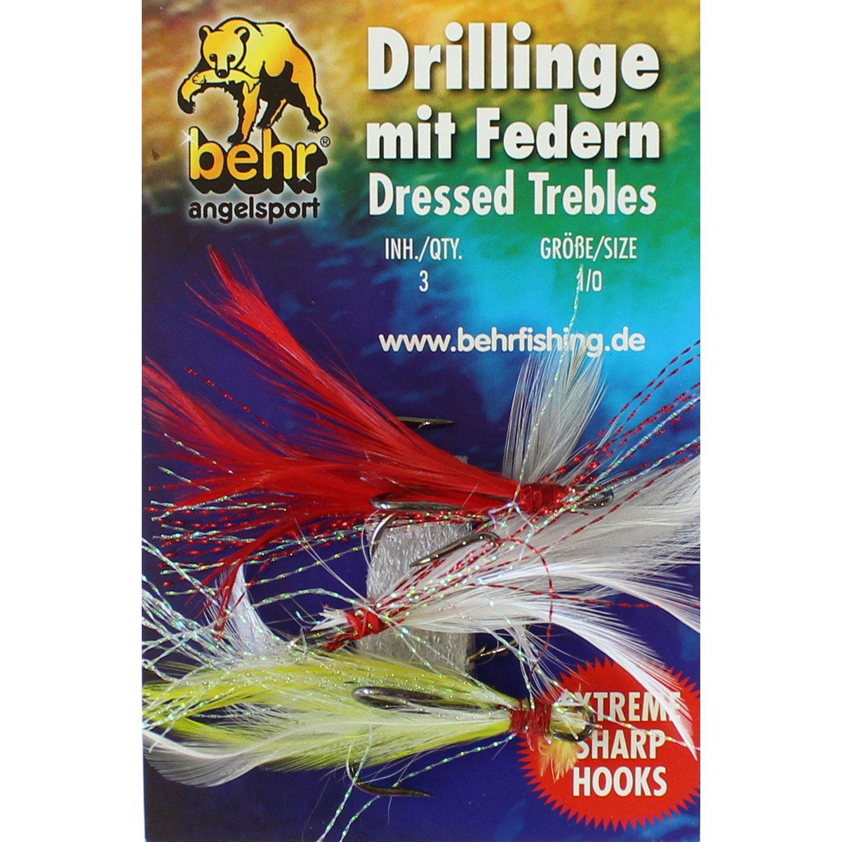 изкуствени мухи-Куки тройки с перушина Behr