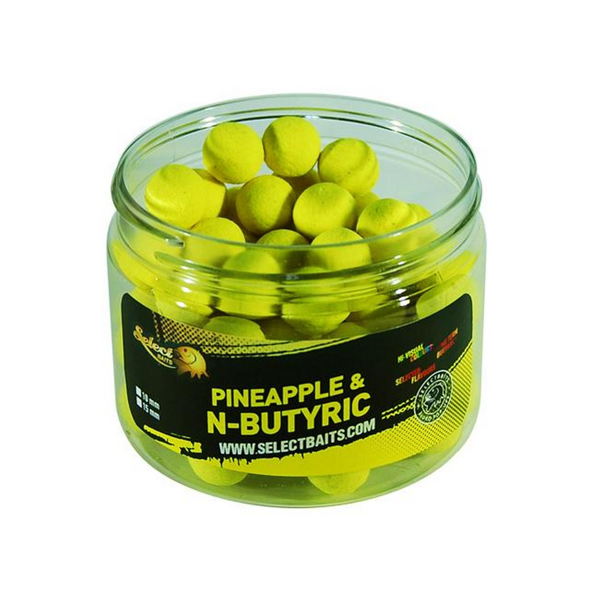Select Baits Fluoro Yellow Pineapple & N-Butyric Pop-up – плуващи топчета