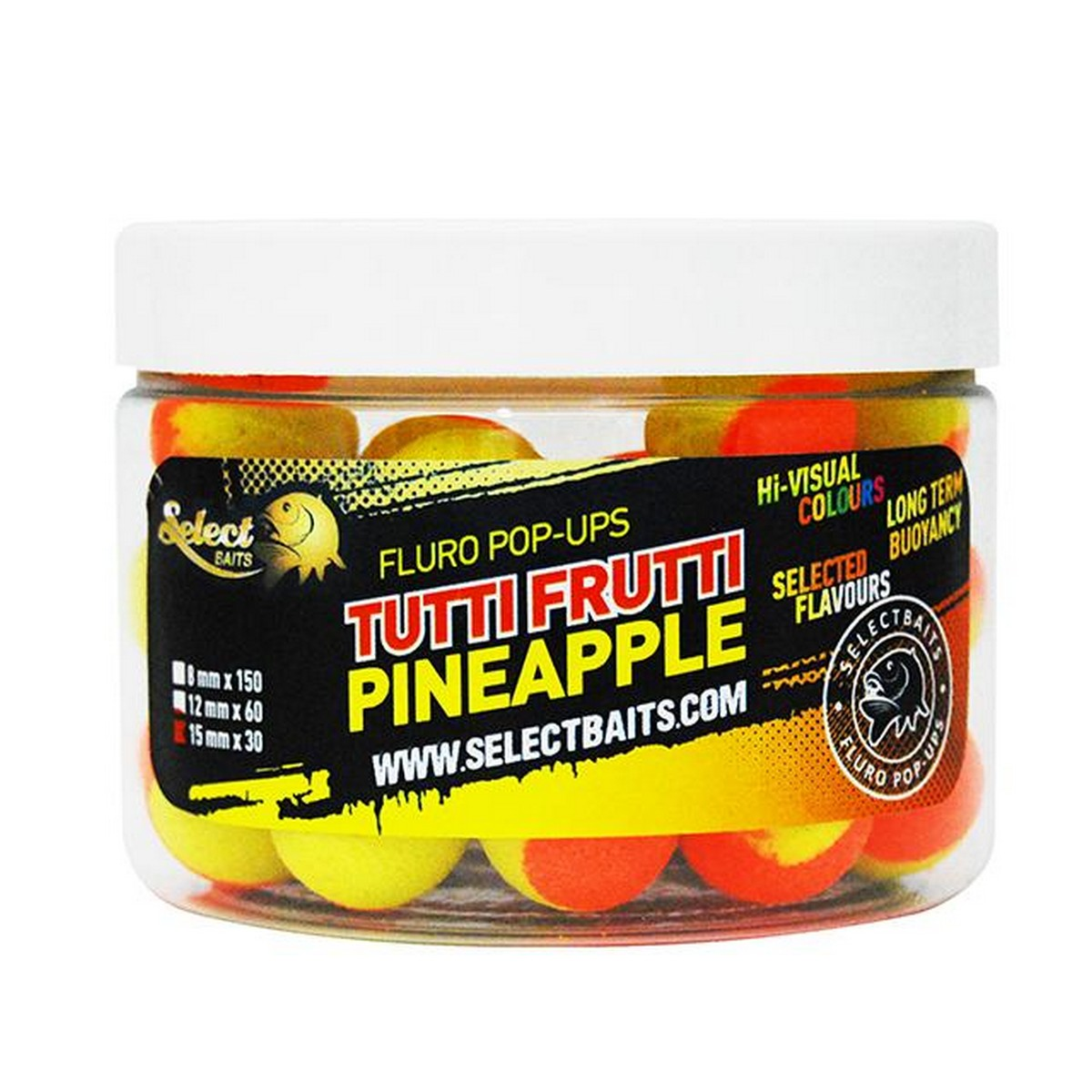Select Baits Fluoro Two Tone Tutti Fruti Pineapple Pop-up – плуващи двуцветни топчета