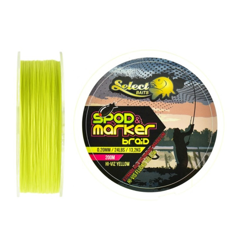 Плетено влакно Select Baits Spod and Marker X8 Braid Hi-Viz Yellow