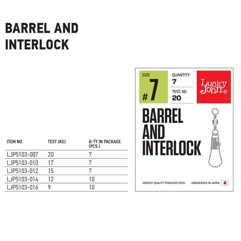 Вирбел с карабинка Lucky John Barrel and Interlock