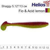Силиконова примамка Helios Shaggy 13см Fio & Acid Lemon